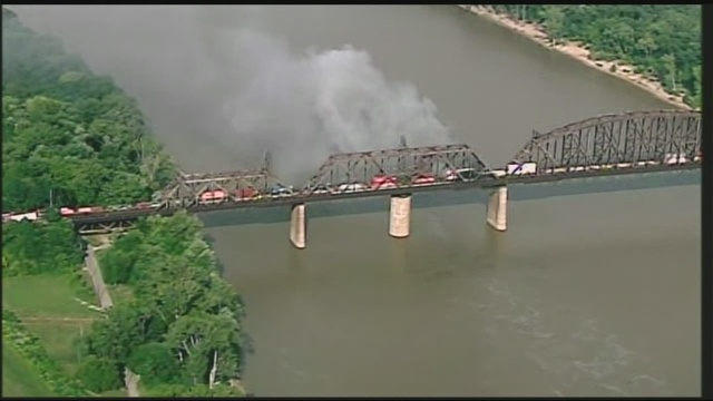 The K&I Bridge on fire.  The bridge is no longer on fire at time of publishing.