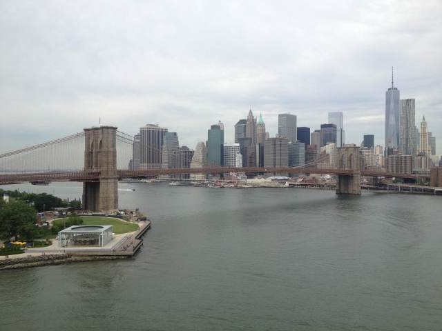 From the Brooklyn-side tower of the Manhattan Bridge.