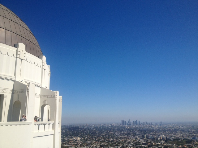 From the outside of Griffith Observatory.