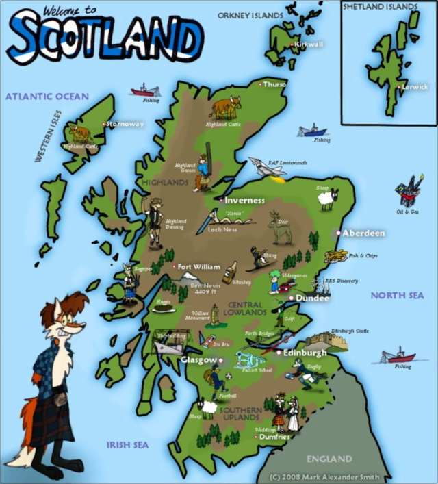 Topographic map of Scotland.