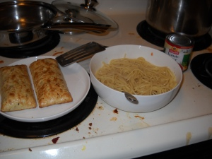 cooked hot pockets and spaghetti